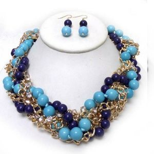 Jewelry - Braided chains and beads necklace set
